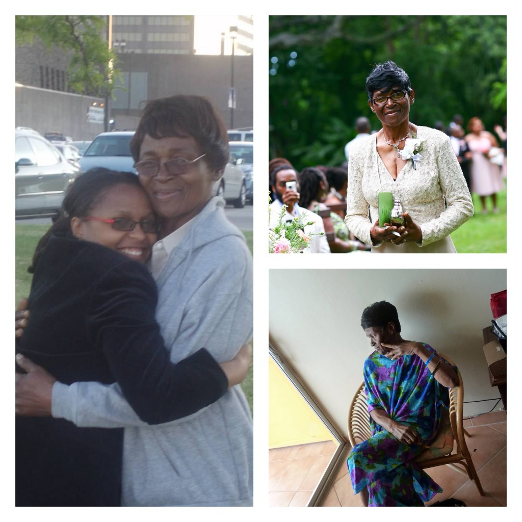 3 picture collage of woman and one with two women hugging. Kerry-Ann with one of her Caribbean Grandmothers