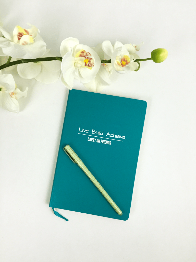 Carry On Friends Journal with pen and flowers